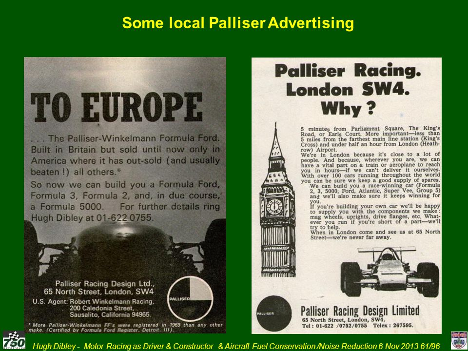 Hugh Dibley - Motor Racing as Driver & Constructor & Aircraft Fuel Conservation /Noise Reduction 6 Nov 2013 61/96 Some local Palliser Advertising
