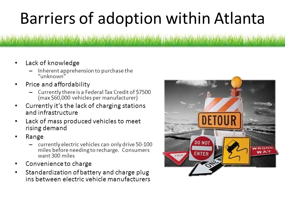 Barriers of adoption within Atlanta Lack of knowledge – Inherent apprehension to purchase the unknown Price and affordability – Currently there is a F