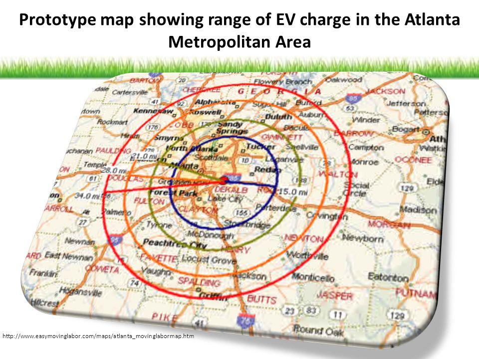 http://www.easymovinglabor.com/maps/atlanta_movinglabormap.htm Prototype map showing range of EV charge in the Atlanta Metropolitan Area