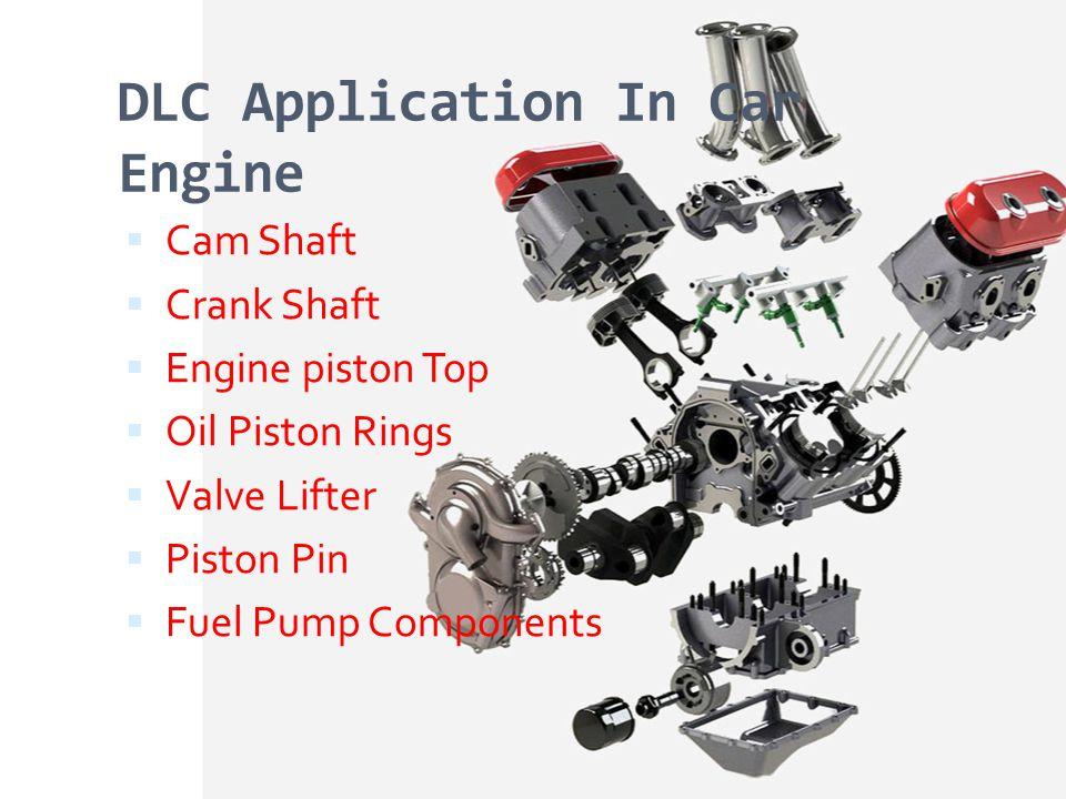 DLC Application In Car Engine Cam Shaft Crank Shaft Engine piston Top Oil Piston Rings Valve Lifter Piston Pin Fuel Pump Components