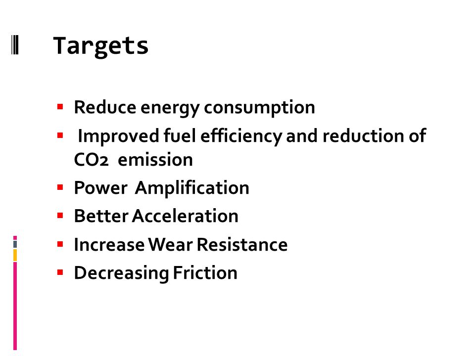 Targets Reduce energy consumption Improved fuel efficiency and reduction of CO2 emission Power Amplification Better Acceleration Increase Wear Resistance Decreasing Friction