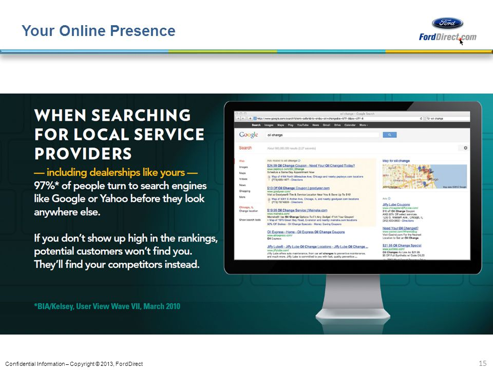 Confidential Information – Copyright © 2013, FordDirect Your Online Presence 15