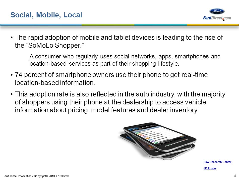 Confidential Information – Copyright © 2013, FordDirect Social, Mobile, Local The rapid adoption of mobile and tablet devices is leading to the rise of the SoMoLo Shopper.
