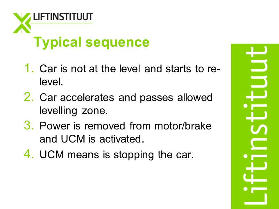 Typical sequence 1. Car is not at the level and starts to re- level. 2. Car accelerates and passes allowed levelling zone. 3. Power is removed from mo