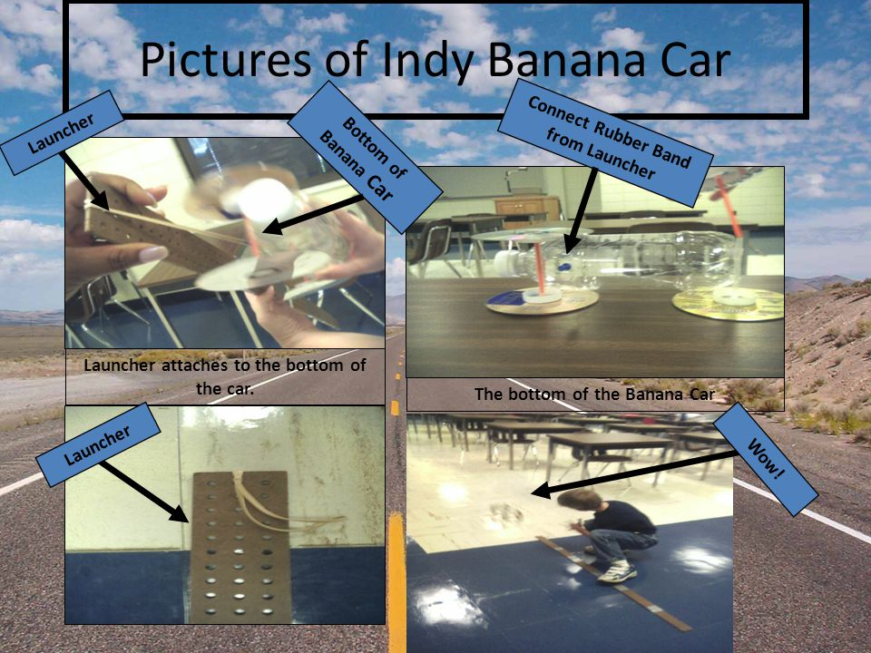 Pictures of Indy Banana Car Launcher attaches to the bottom of the car.