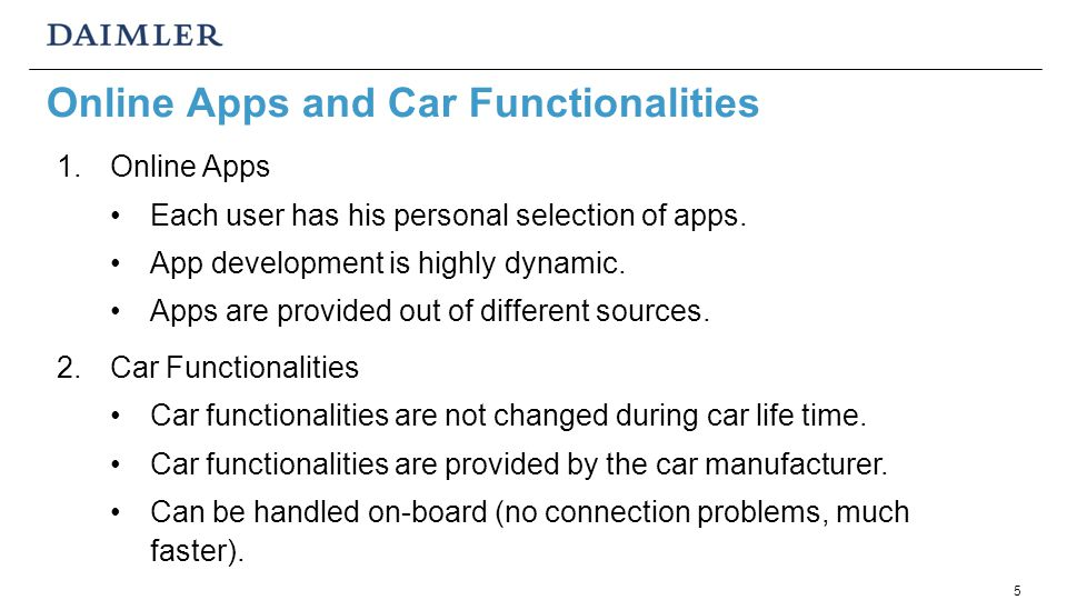 5 Online Apps and Car Functionalities 1.Online Apps Each user has his personal selection of apps.