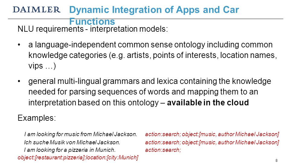 8 NLU requirements - interpretation models: a language-independent common sense ontology including common knowledge categories (e.g.