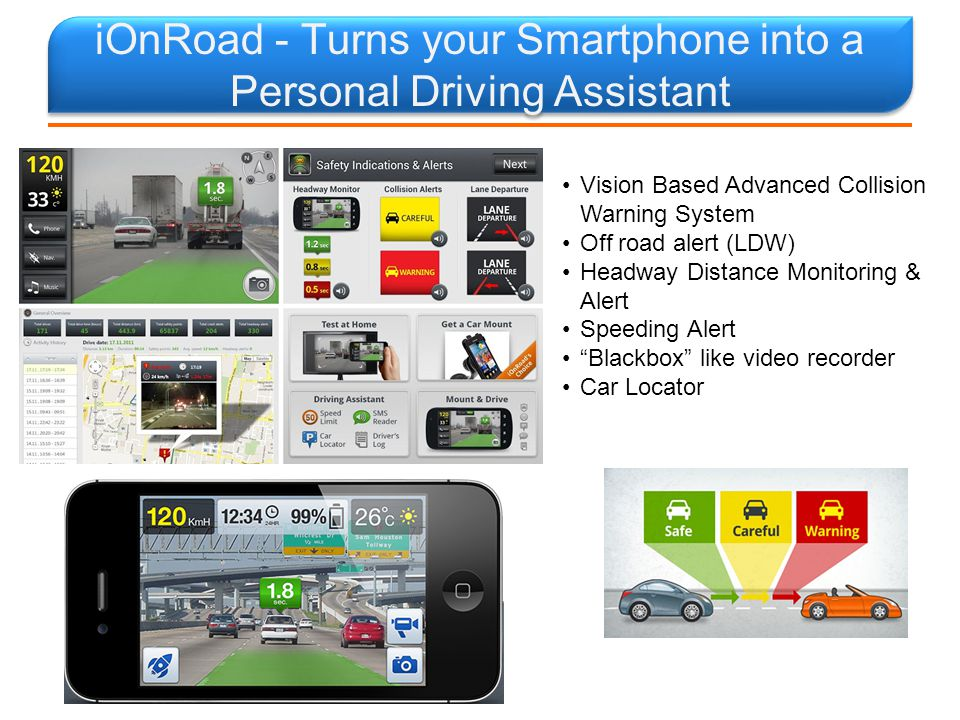 iOnRoad - Turns your Smartphone into a Personal Driving Assistant 15 Vision Based Advanced Collision Warning System Off road alert (LDW) Headway Distance Monitoring & Alert Speeding Alert Blackbox like video recorder Car Locator