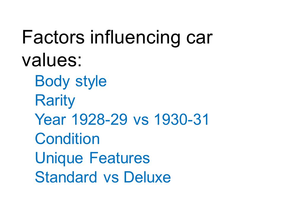 Factors influencing car values: Body style Rarity Year 1928-29 vs 1930-31 Condition Unique Features Standard vs Deluxe