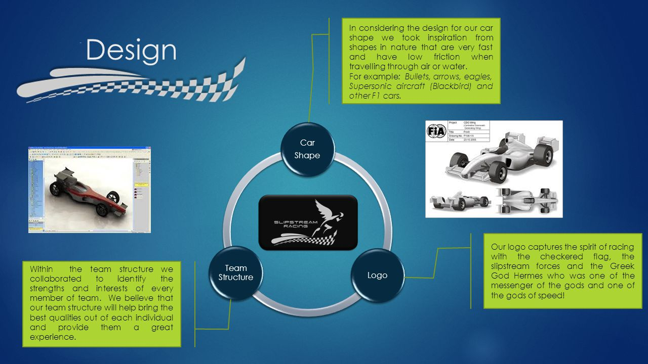 Design Car Shape Logo Team Structure In considering the design for our car shape we took inspiration from shapes in nature that are very fast and have low friction when travelling through air or water.