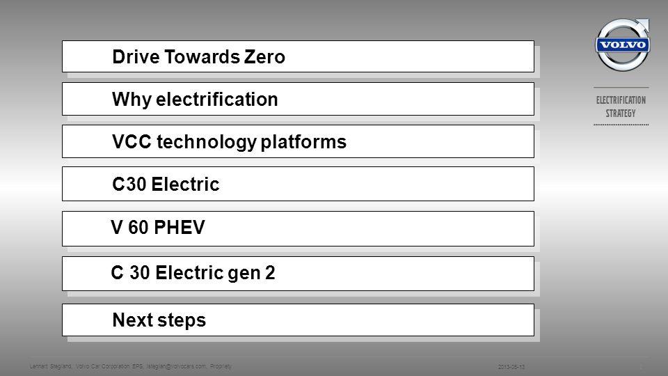 Electrification strategy V60 PLUG-IN HYBRID PURE HYBRID POWER 2013-05-13 Lennart Stegland, Volvo Car Corporation EPS, lsteglan@volvocars.com, Propriety 13