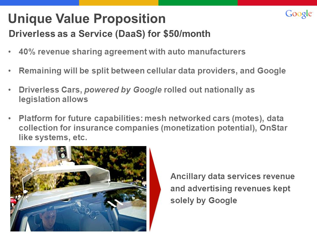 40% revenue sharing agreement with auto manufacturers Remaining will be split between cellular data providers, and Google Driverless Cars, powered by