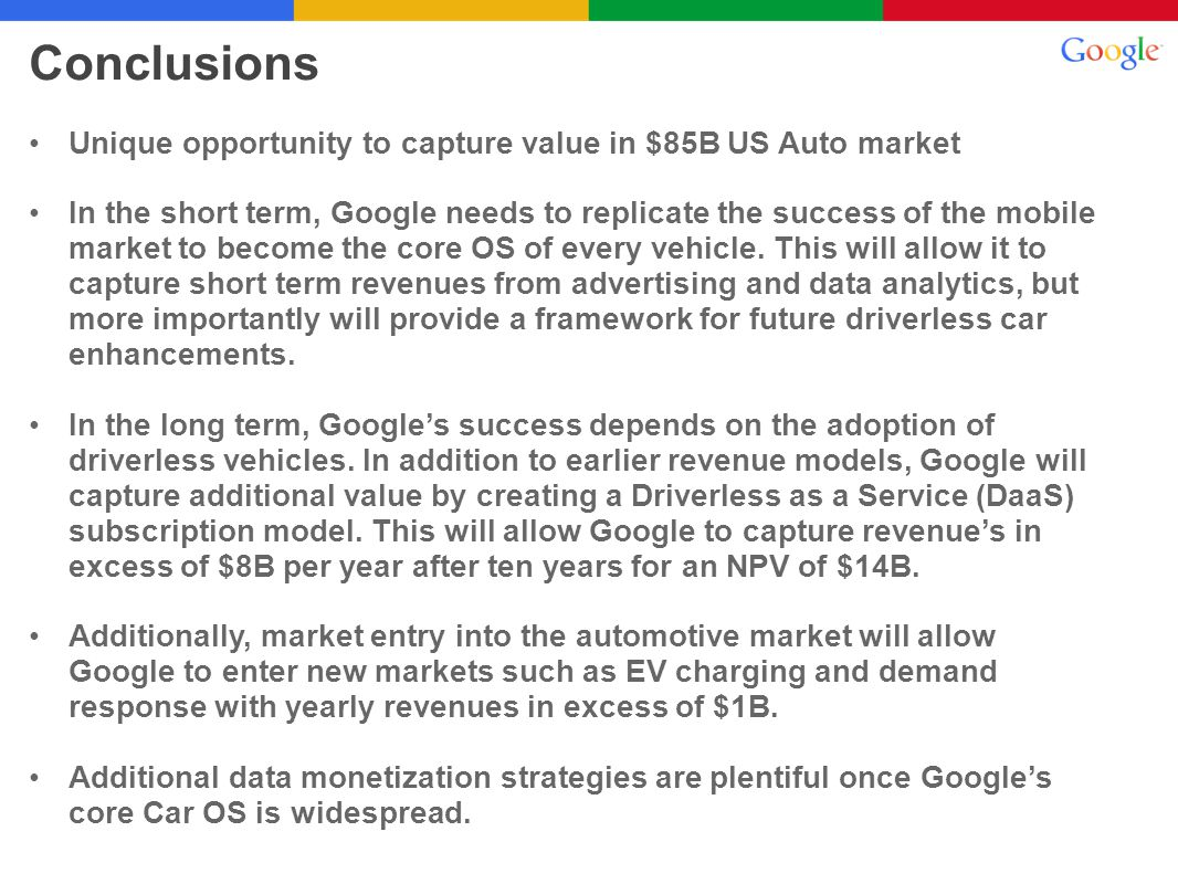 Unique opportunity to capture value in $85B US Auto market In the short term, Google needs to replicate the success of the mobile market to become the
