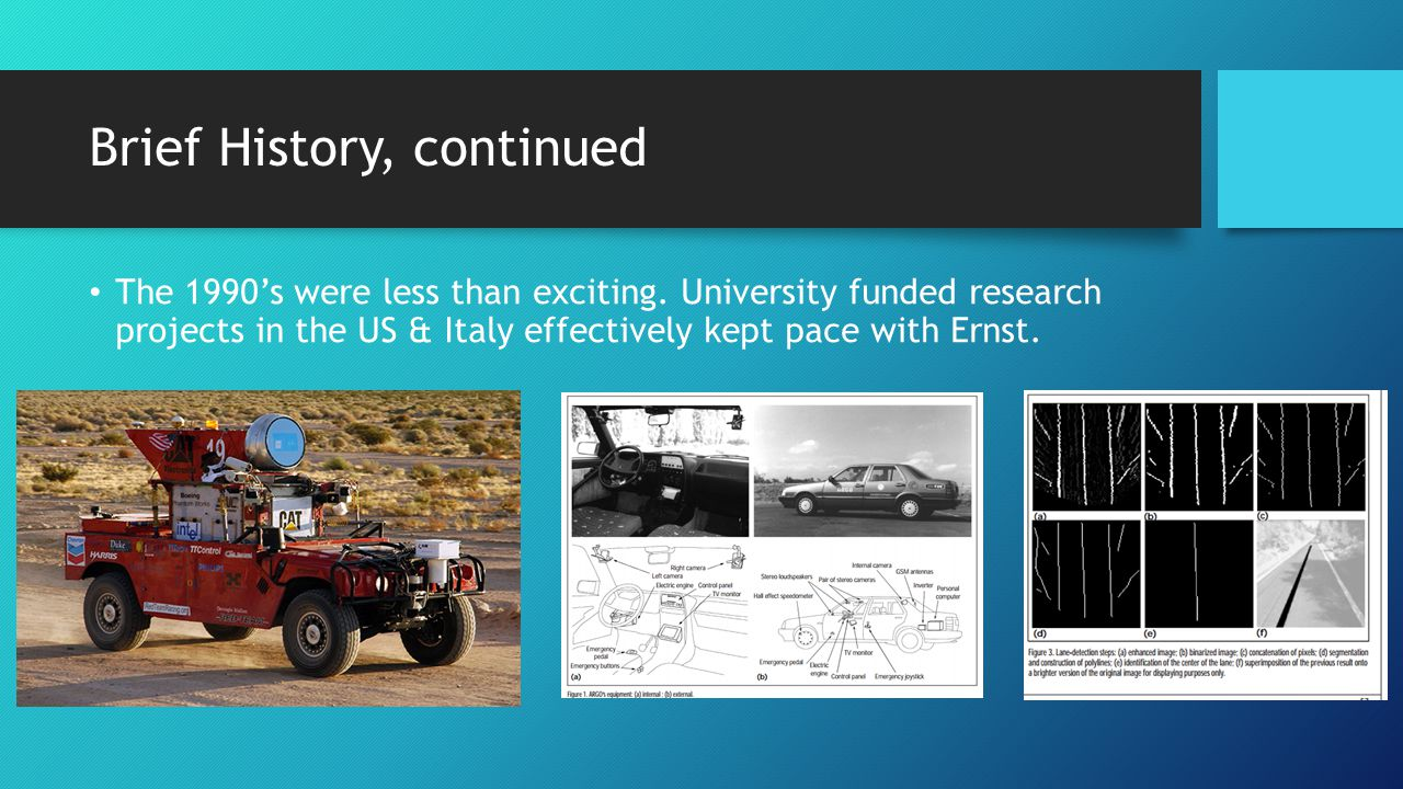 Brief History, continued 2000s - DARPA Grand Challenge.