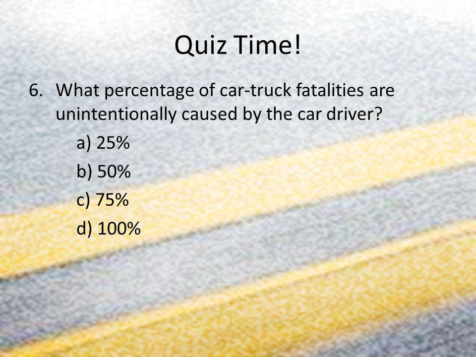 Quiz Time! 6.What percentage of car-truck fatalities are unintentionally caused by the car driver? a) 25% b) 50% c) 75% d) 100%