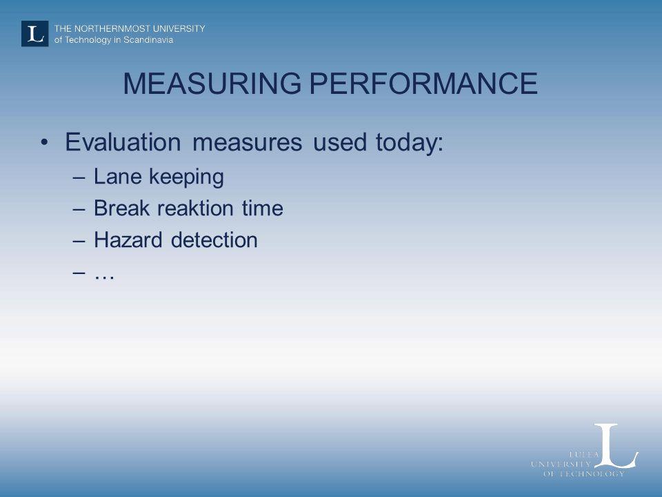 MEASURING PERFORMANCE Evaluation measures used today: –Lane keeping –Break reaktion time –Hazard detection –…