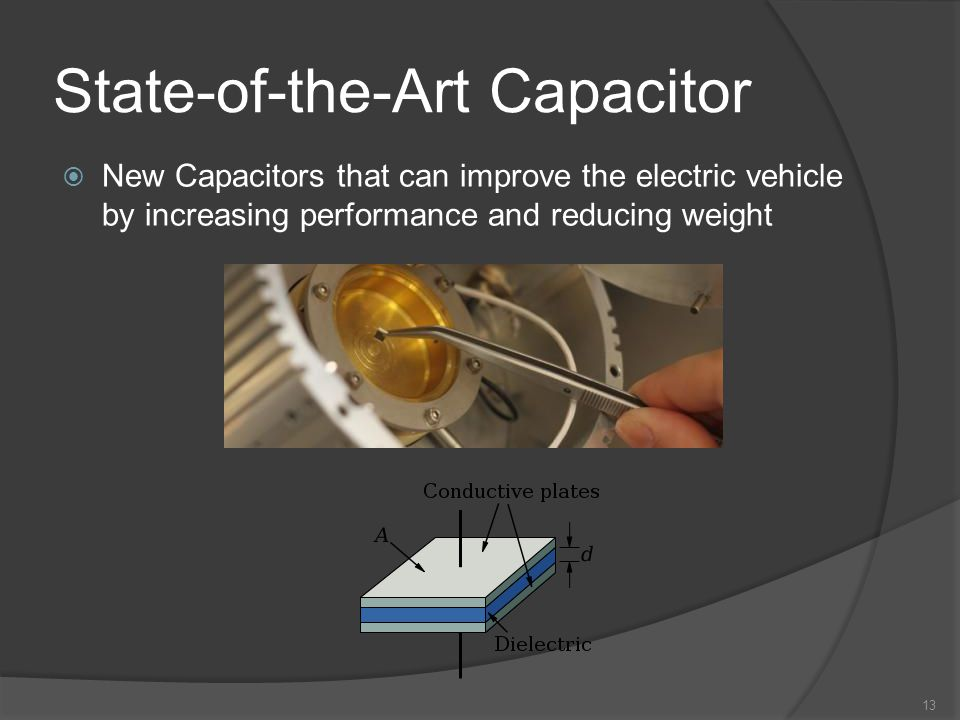 State-of-the-Art Capacitor 13 New Capacitors that can improve the electric vehicle by increasing performance and reducing weight