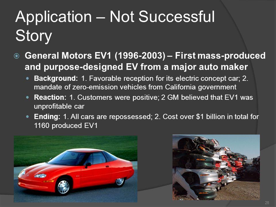 Application – Not Successful Story General Motors EV1 (1996-2003) – First mass-produced and purpose-designed EV from a major auto maker Background: 1.