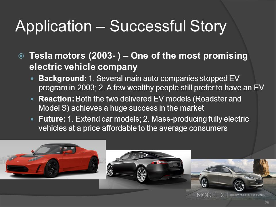 Application – Successful Story Tesla motors (2003- ) – One of the most promising electric vehicle company Background: 1. Several main auto companies s