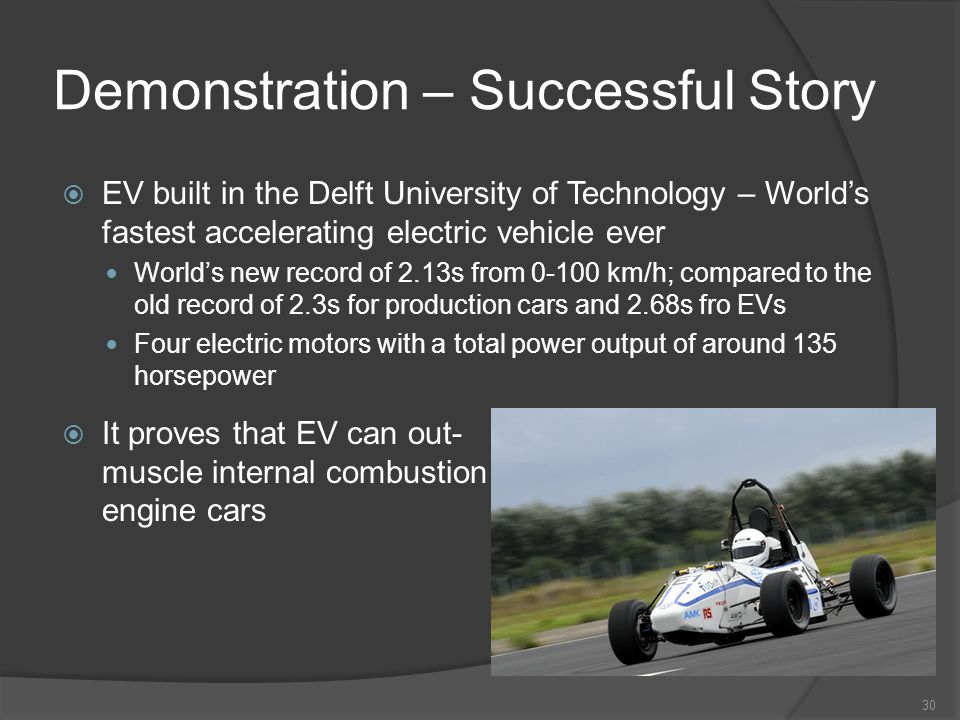 Demonstration – Successful Story 30 EV built in the Delft University of Technology – Worlds fastest accelerating electric vehicle ever Worlds new record of 2.13s from 0-100 km/h; compared to the old record of 2.3s for production cars and 2.68s fro EVs Four electric motors with a total power output of around 135 horsepower It proves that EV can out- muscle internal combustion engine cars