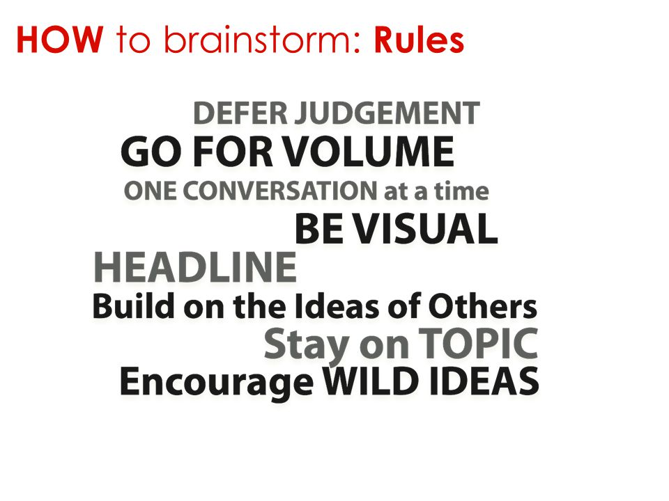 HOW to brainstorm: Rules
