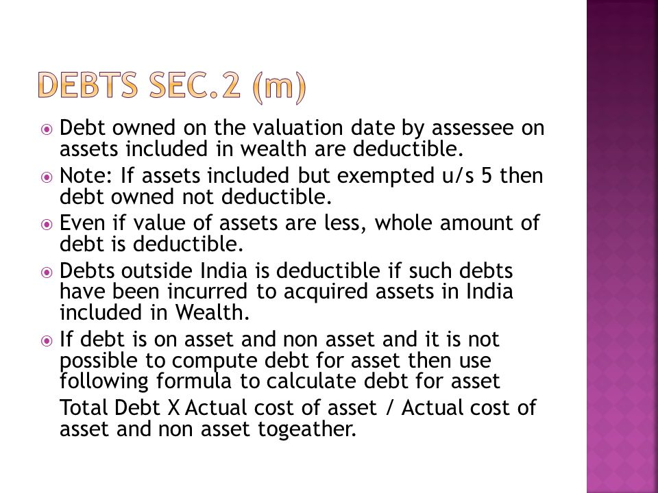Debt owned on the valuation date by assessee on assets included in wealth are deductible.