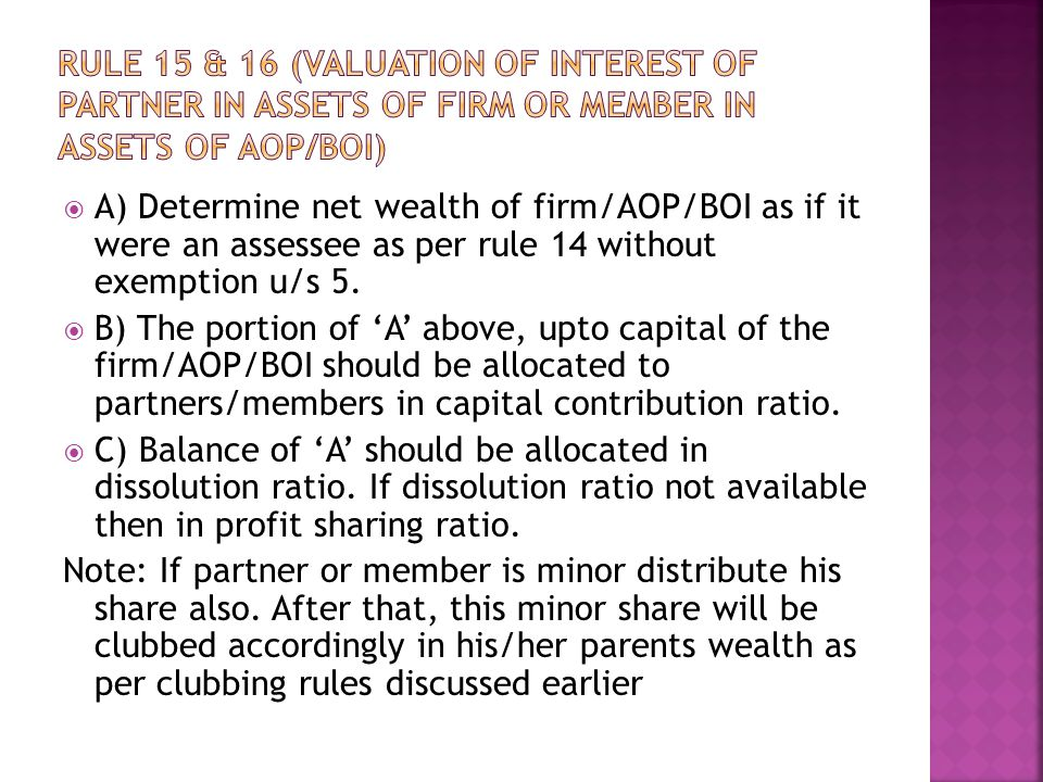 A) Determine net wealth of firm/AOP/BOI as if it were an assessee as per rule 14 without exemption u/s 5.