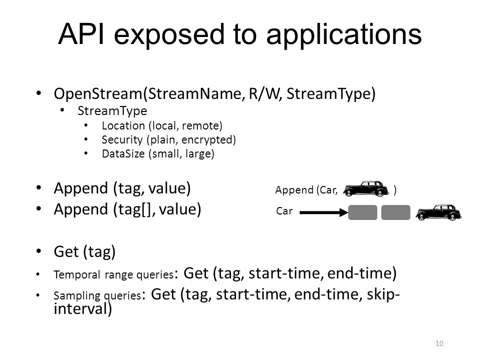 API exposed to applications OpenStream(StreamName, R/W, StreamType) StreamType Location (local, remote) Security (plain, encrypted) DataSize (small, large) Append (tag, value) Append (tag[], value) Get (tag) Temporal range queries : Get (tag, start-time, end-time) Sampling queries : Get (tag, start-time, end-time, skip- interval) Car 10 Append (Car, )