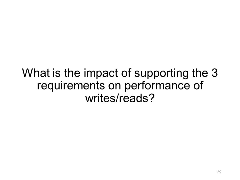 What is the impact of supporting the 3 requirements on performance of writes/reads 29