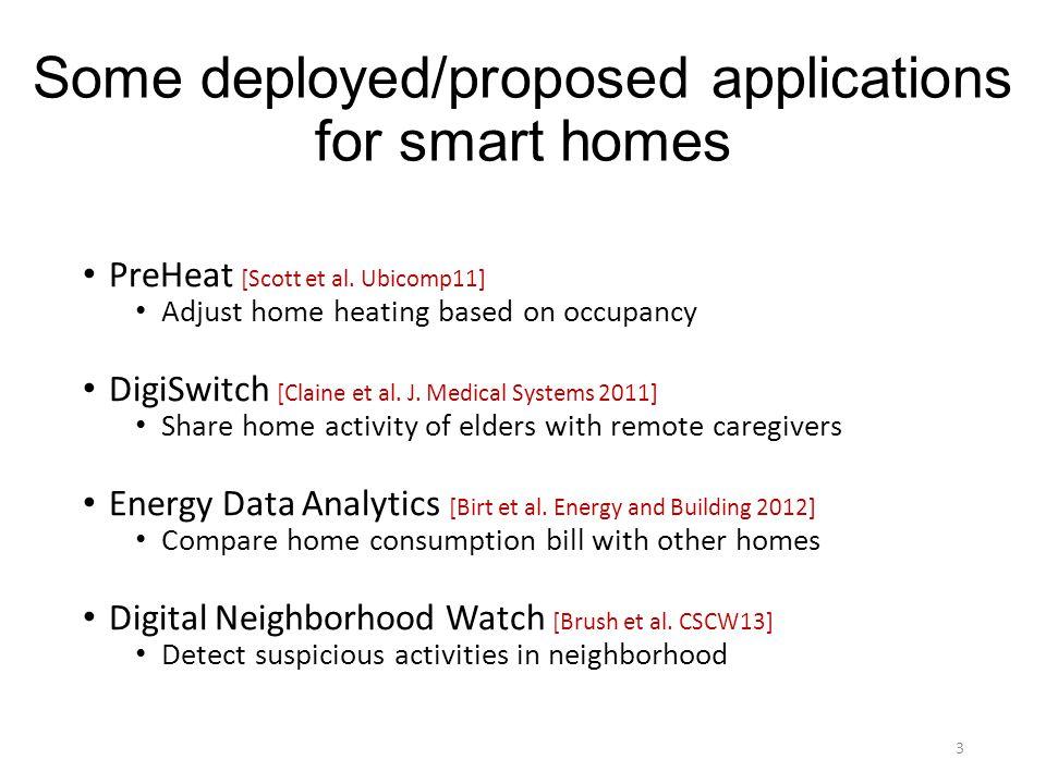 Some deployed/proposed applications for smart homes PreHeat [Scott et al. Ubicomp11] Adjust home heating based on occupancy DigiSwitch [Claine et al.