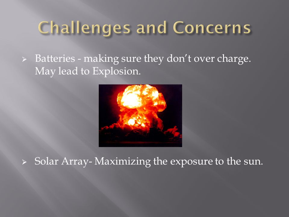 Batteries - making sure they dont over charge.May lead to Explosion.