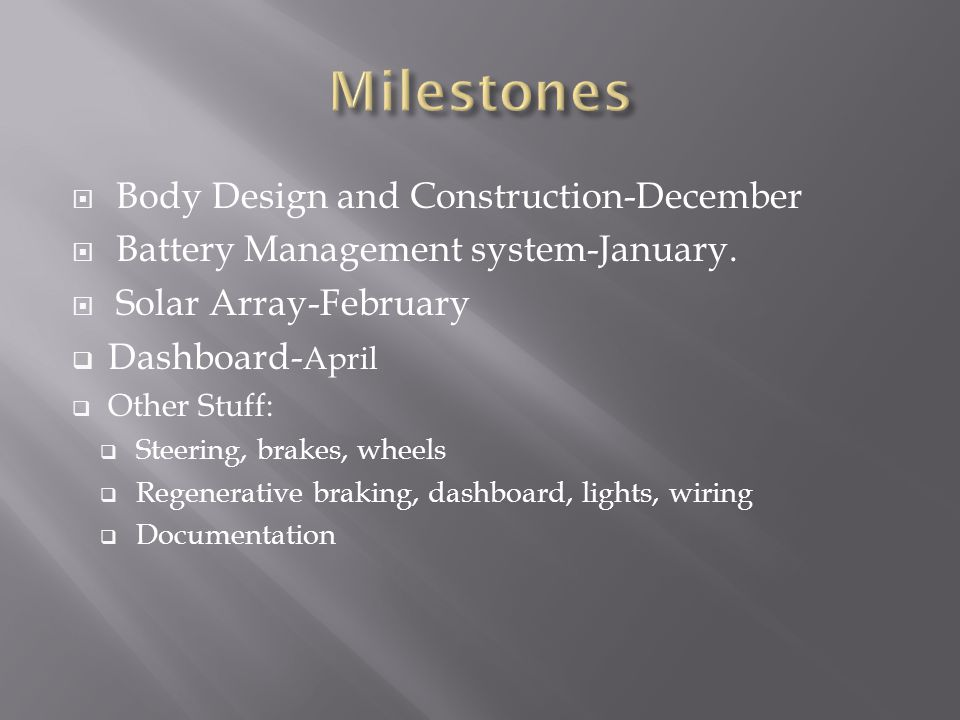 Body Design and Construction-December Battery Management system-January.