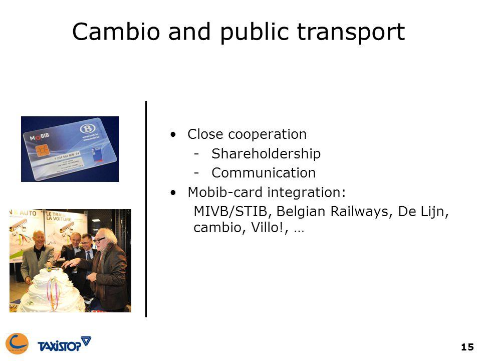 15 Cambio and public transport Close cooperation -Shareholdership -Communication Mobib-card integration: MIVB/STIB, Belgian Railways, De Lijn, cambio, Villo!, …