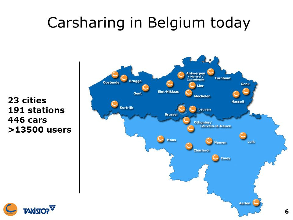 6 Carsharing in Belgium today 23 cities 191 stations 446 cars >13500 users