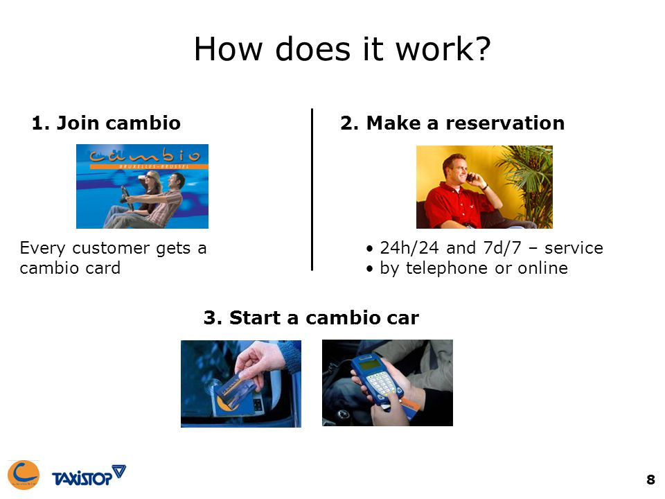 8 1. Join cambio How does it work? Every customer gets a cambio card 24h/24 and 7d/7 – service by telephone or online 2. Make a reservation 3. Start a