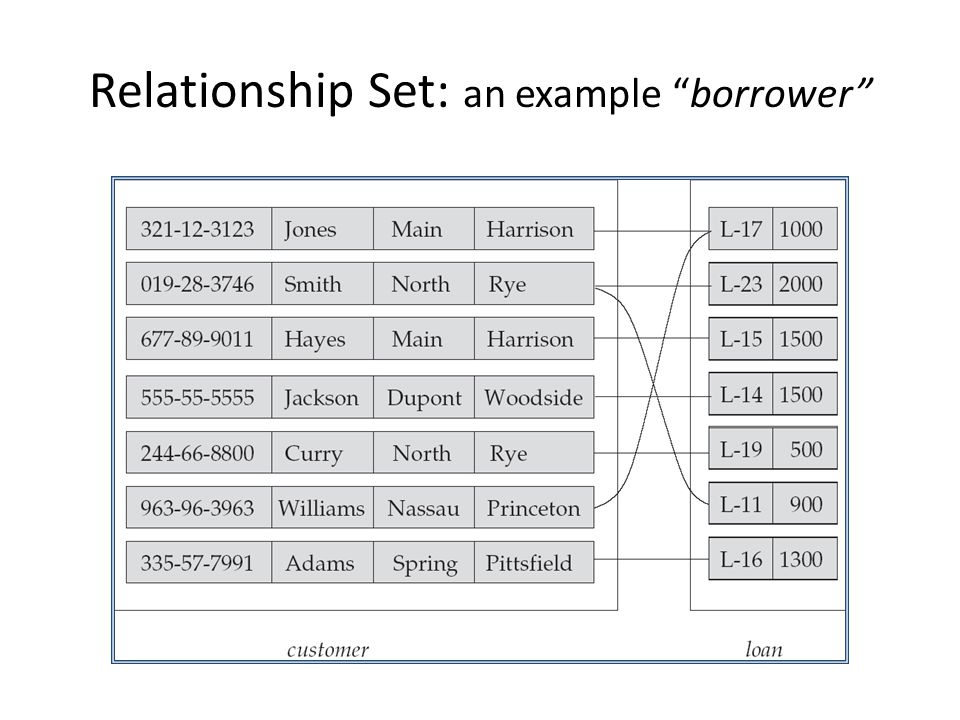 Relationship Set: an example borrower