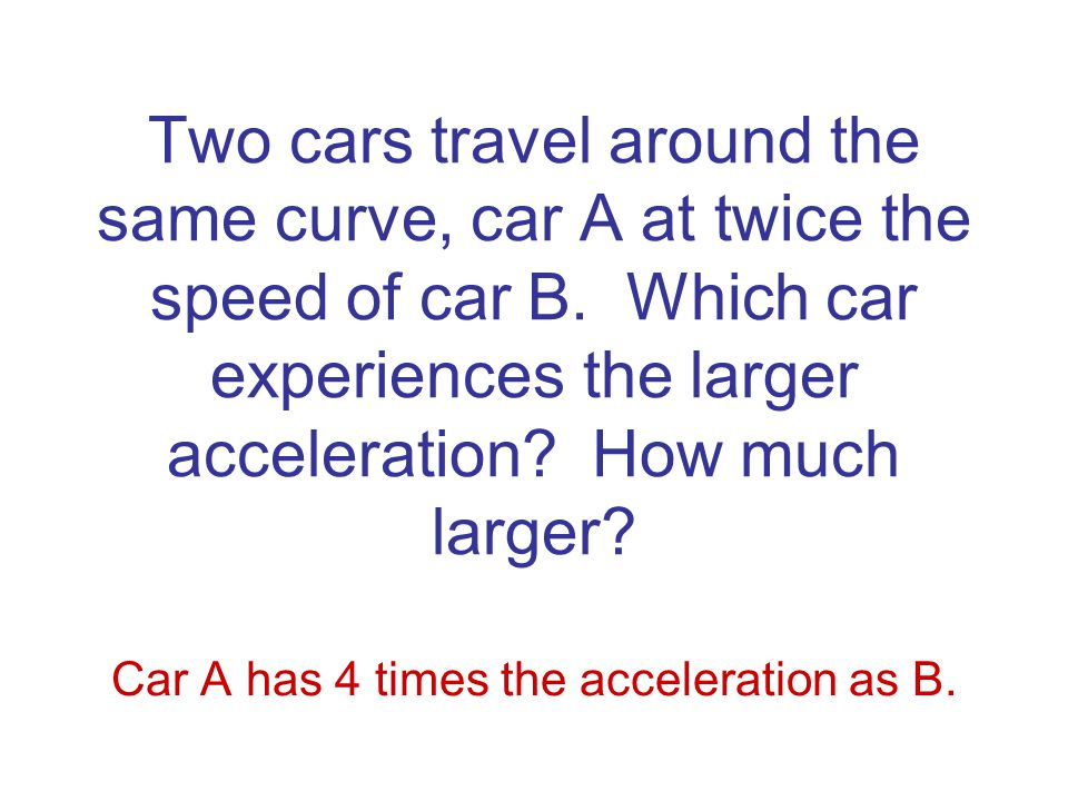 Two cars travel around the same curved, flat road with the same constant speed.