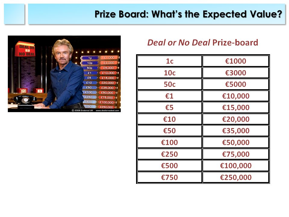 Prize Board: Whats the Expected Value
