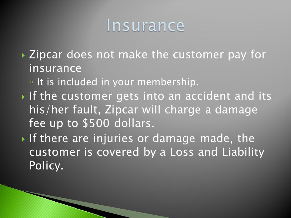 Zipcar does not make the customer pay for insurance It is included in your membership.