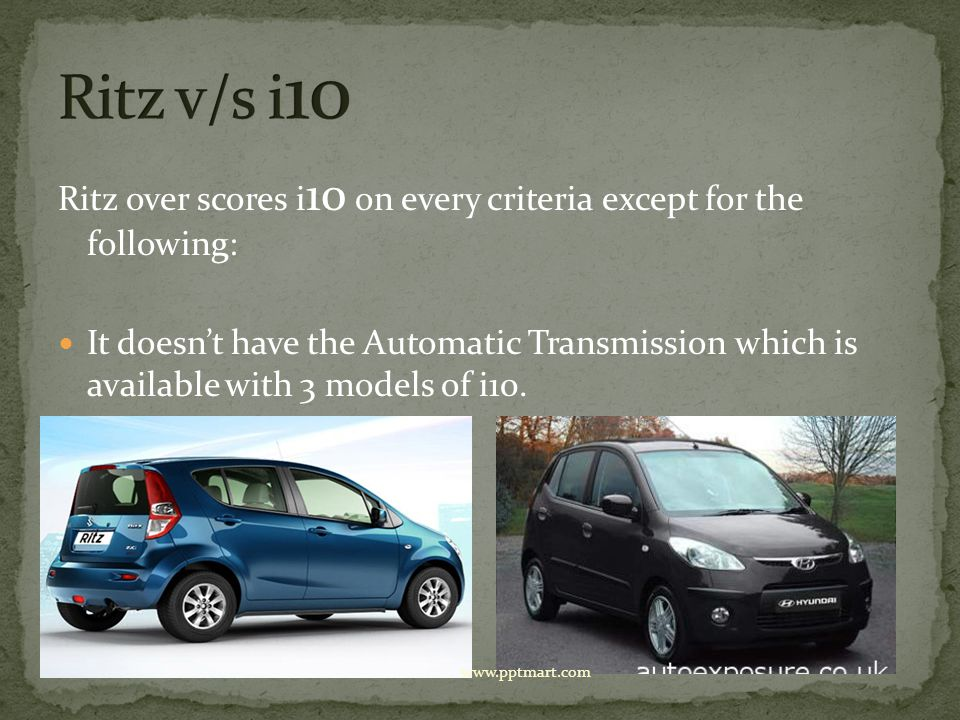 Ritz over scores i 10 on every criteria except for the following: It doesnt have the Automatic Transmission which is available with 3 models of i10. w