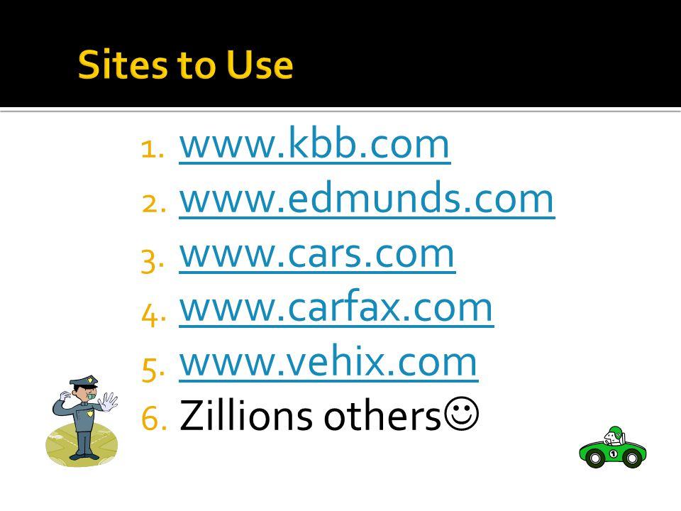 1. www.kbb.com www.kbb.com 2. www.edmunds.com www.edmunds.com 3.