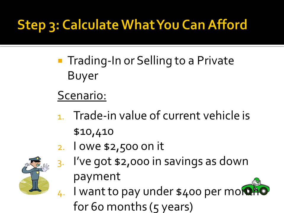 Trading-In or Selling to a Private Buyer Scenario: 1.