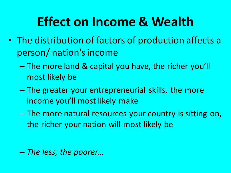 Effect on Income & Wealth The distribution of factors of production affects a person/ nations income – The more land & capital you have, the richer youll most likely be – The greater your entrepreneurial skills, the more income youll most likely make – The more natural resources your country is sitting on, the richer your nation will most likely be – The less, the poorer...