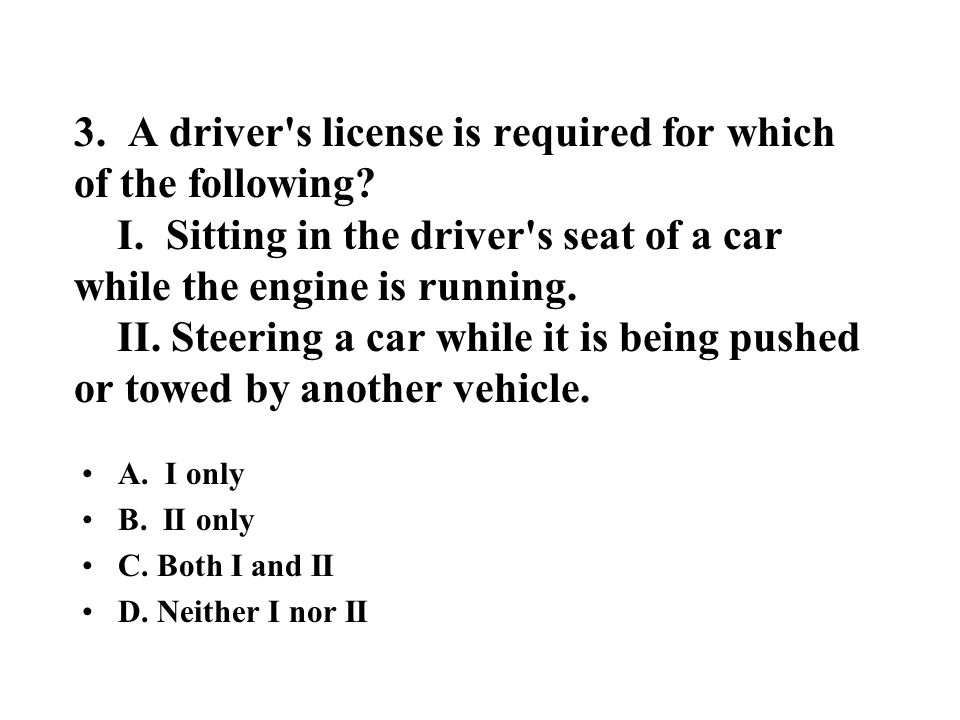 82.In North Carolina, which of the following are required on all cars.