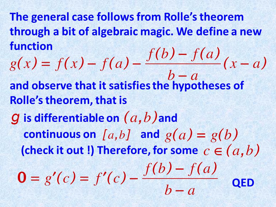 The general case follows from Rolles theorem through a bit of algebraic magic.