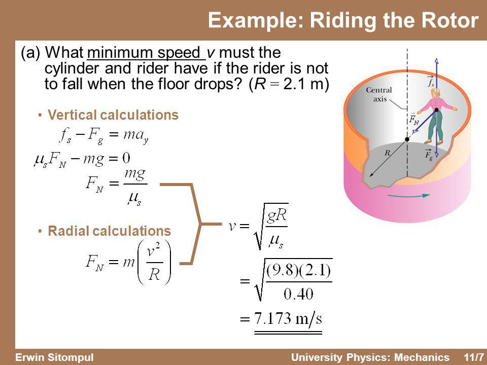 11/8 Erwin SitompulUniversity Physics: Mechanics Example: Riding the Rotor (b) If the riders mass is 49 kg, what is the magnitude of the centripetal force on her.