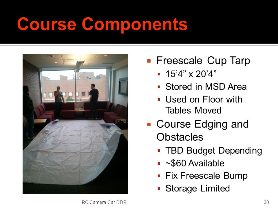 Freescale Cup Tarp 154 x 204 Stored in MSD Area Used on Floor with Tables Moved Course Edging and Obstacles TBD Budget Depending ~$60 Available Fix Freescale Bump Storage Limited RC Camera Car DDR30