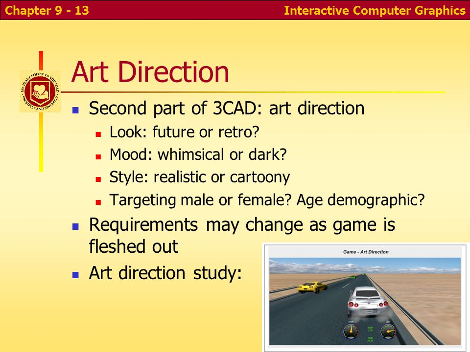 Collision Detection How to tell when car hits guard rail or another car? More complex game: physics engine Define velocity, physical properties of obj