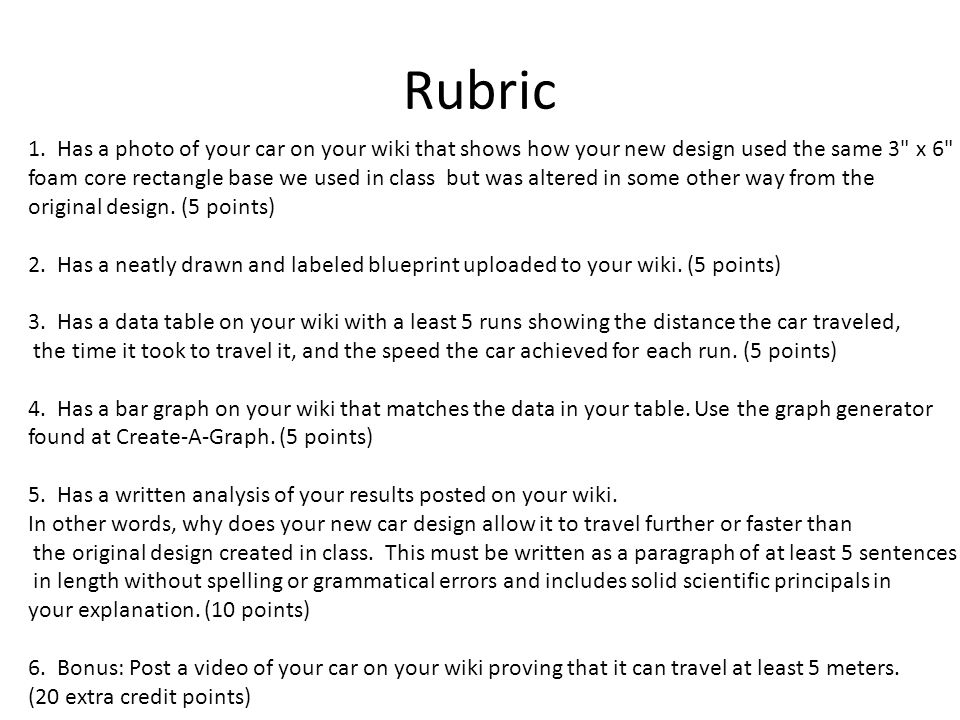 Rubric 1. Has a photo of your car on your wiki that shows how your new design used the same 3