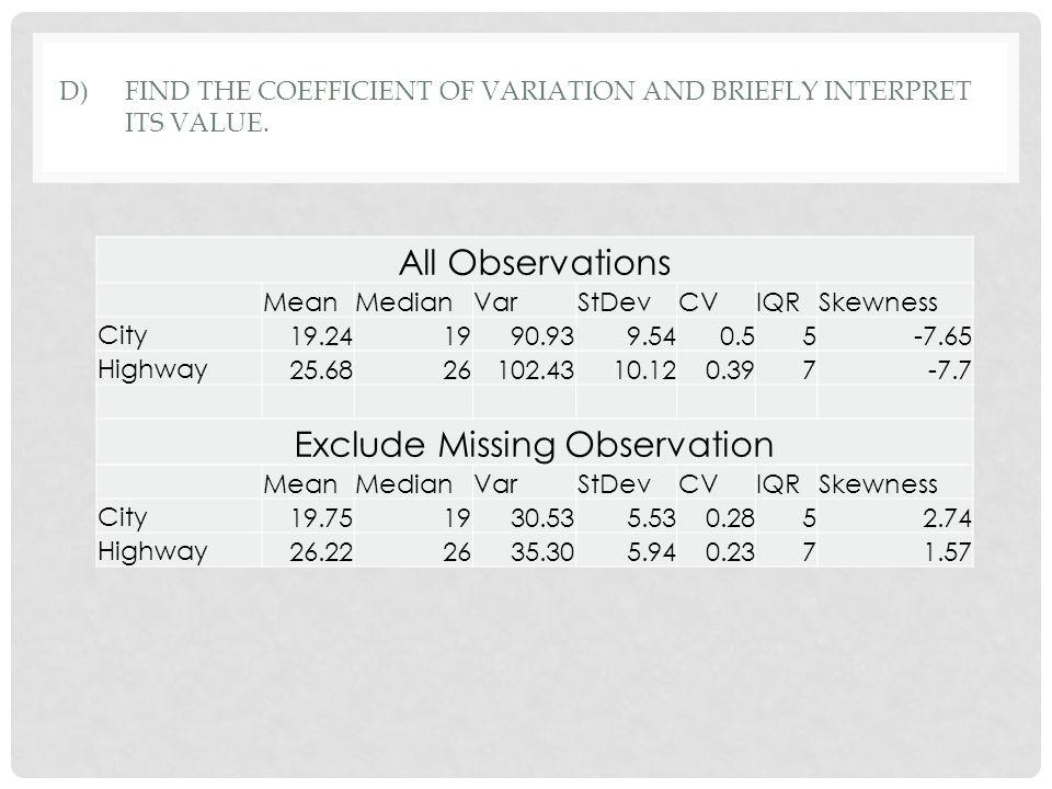 D)FIND THE COEFFICIENT OF VARIATION AND BRIEFLY INTERPRET ITS VALUE. All Observations MeanMedianVarStDevCVIQRSkewness City 19.241990.939.540.55-7.65 H